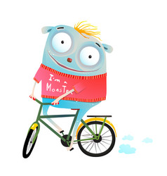 Cute animal in sweater riding bike vector