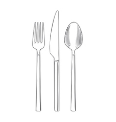Cutlery set of fork knife and spoon vector image