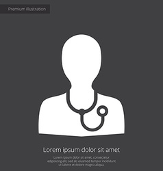 Doctor premium icon white on dark background vector