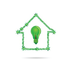 eco bulb in green house vector image vector image