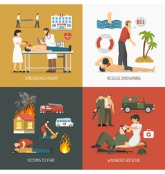 First aid concept 4 flat icons vector