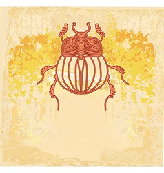 Golden scarab background vector