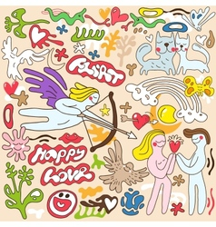 love Valentines day - doodles set vector image vector image