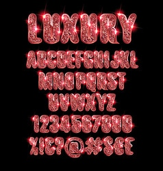 Luxury gold red alphabet vector