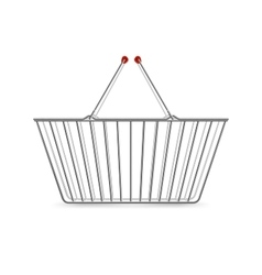 Metallic shopping basket empty realistic pictogram vector