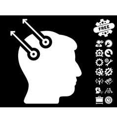 Neural interface plugs icon with tools vector