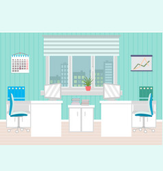 office room interior including two work spaces vector image vector image