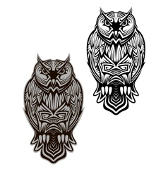 Owl bird tattoo vector