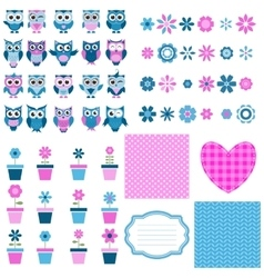 owls flowers and background set vector image vector image
