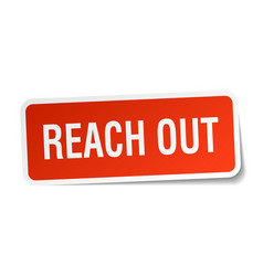 Reach out square sticker on white vector