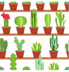 Seamless pattern of flowers pots with cacti and vector