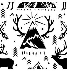 seamless pattern with deers antlers and and vector image vector image