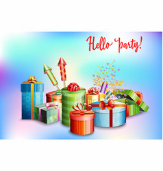 set of gift boxes of different design vector image vector image