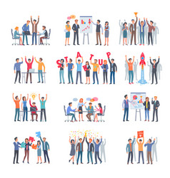 set of successful startup with group of people vector image