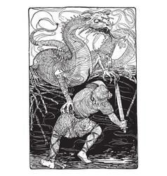Siegfried slays the dragon vintage vector