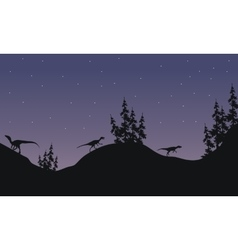Silhouette of Eoraptor with star vector image vector image