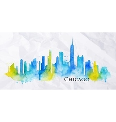 Silhouette watercolor chicago vector