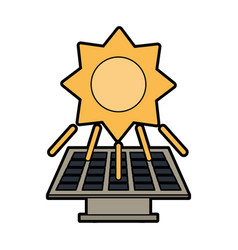 solar panel and sun clean energy related icon vector image vector image