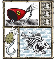 tiki fishing vector image vector image