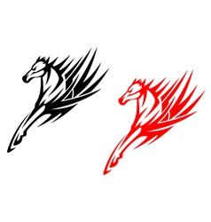 Tribal horses for tattoo design vector