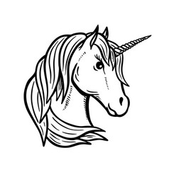unicorn head hand drawn isolated on white vector image vector image