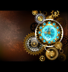 unusual clock with gears vector image vector image