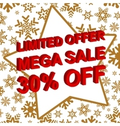 Winter sale poster with limited offer mega sale 30 vector