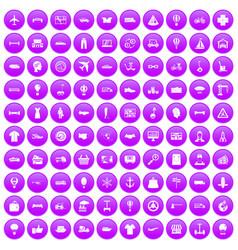 100 logistics icons set purple vector
