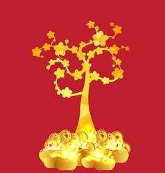 Chinese new year golden coin and gold tree vector