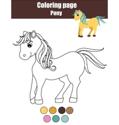 Coloring page with cute pony horse educational vector