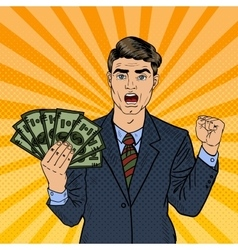 Pop art rich businessman holding money dollars vector