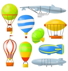 Set air balloons and airships vector