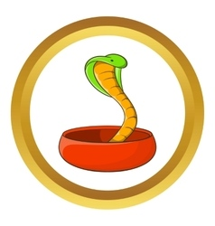 Cobra snake coming out of a bowl icon vector
