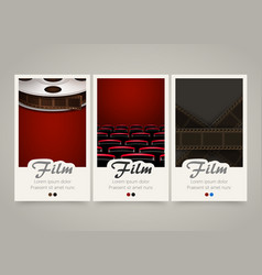 Modern colorful vertical cinema banners film vector