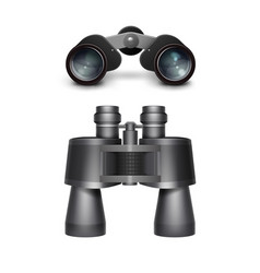 Black travel binoculars vector