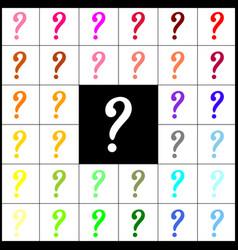 question mark sign  felt-pen 33 colorful vector image