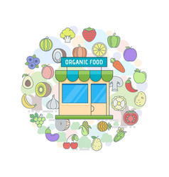 Organic food shop vector