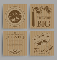 vintage theatre cards collection with theatre vector image
