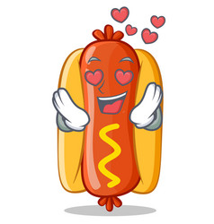 in love hot dog cartoon character vector image