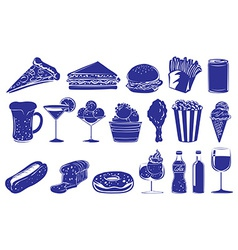 Doodle design of the different foods and drinks vector