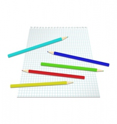 Sheet of paper with pencils vector