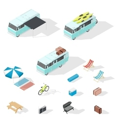 Motorhome and camping accessories isometric icons vector