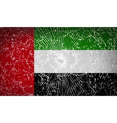 Flags united arab emirates with broken glass vector
