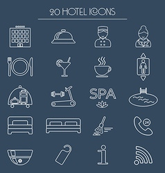 Icons of hotel service thin white line icon hotel vector