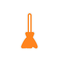 Bright stylish sticker broom on a white background vector