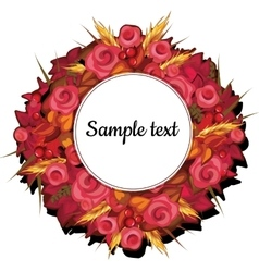 Round frame with flowers of roses with text vector
