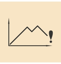 Flat in black and white falling graph vector