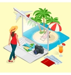 Modern concept of traveling booking online vector