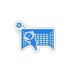 Paper sticker on white background soccer goalie vector