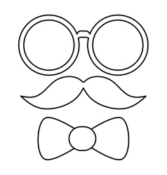 Glasses mustache and bowtie vector